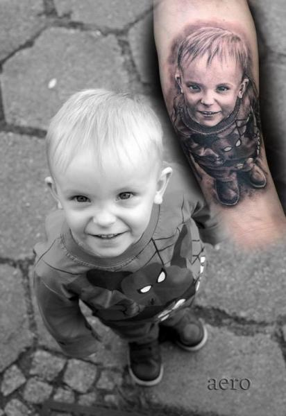 Arm Portrait Realistic Children Tattoo by Aero & inkeaters