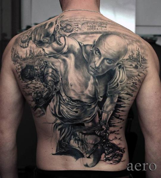 Realistic Back Warrior Tattoo by Aero & inkeaters