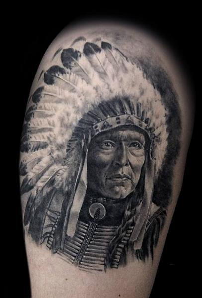 Shoulder Realistic Indian Tattoo by Aero & inkeaters