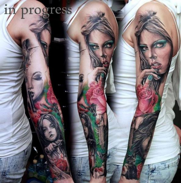 Realistic Flower Gun Sleeve Woman Tattoo by Aero & inkeaters