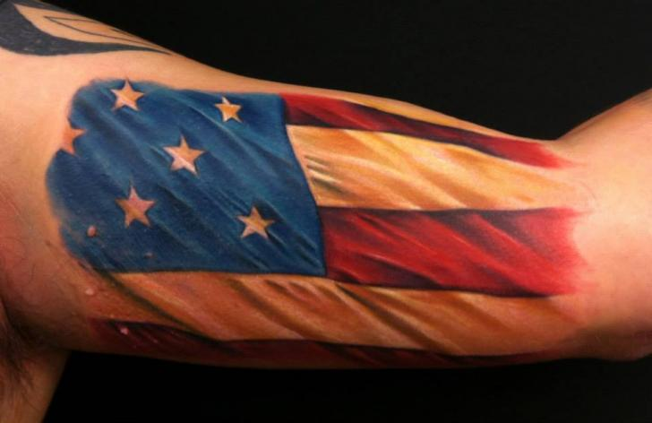 Arm Usa Flag Tattoo by Distinction Tattoo