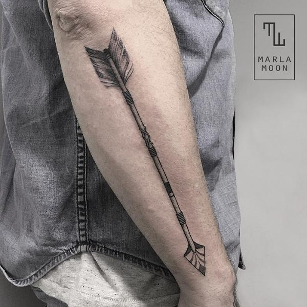 Arm Dotwork Arrow Tattoo by Marla Moon