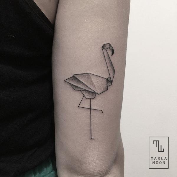 Arm Dotwork Flamingo Tattoo by Marla Moon