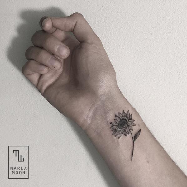 Arm Flower Dotwork Tattoo by Marla Moon