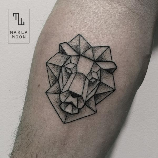 Arm Lion Dotwork Tattoo by Marla Moon