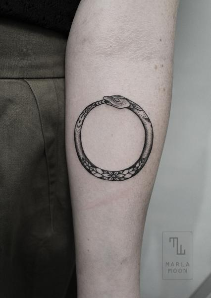 Arm Snake Dotwork Ring Tattoo by Marla Moon