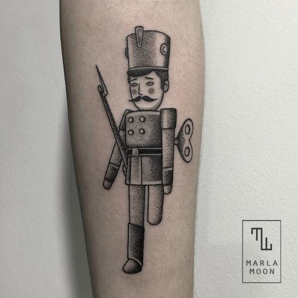 Arm Robot Dotwork Toy Tattoo by Marla Moon