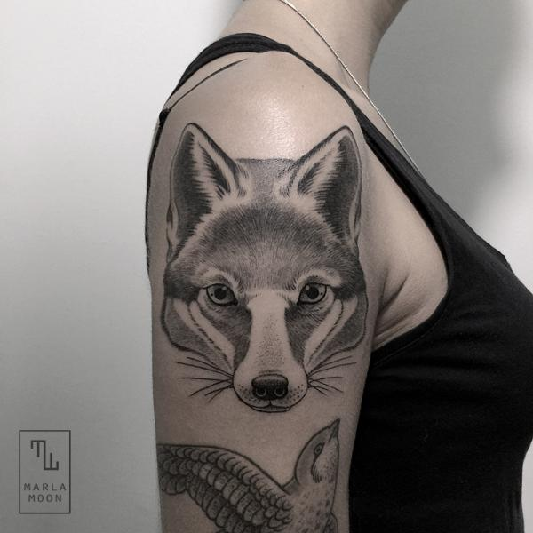 Shoulder Dotwork Fox Tattoo by Marla Moon