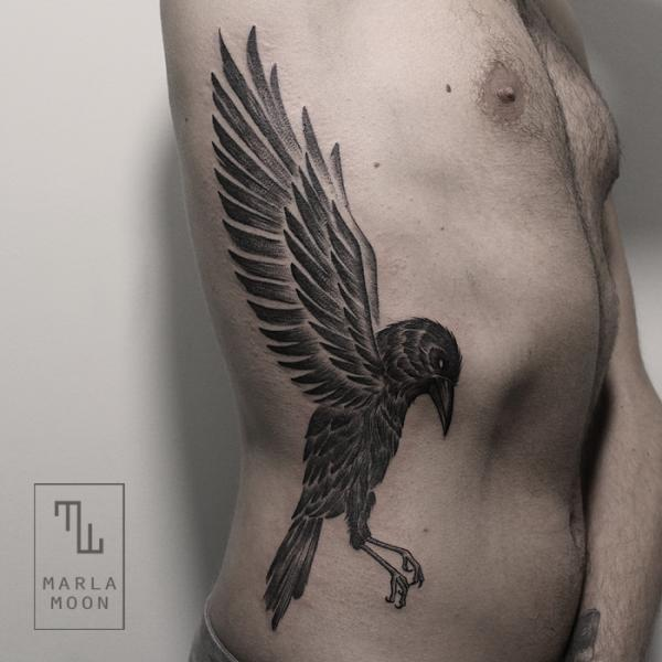 Side Dotwork Bird Tattoo by Marla Moon