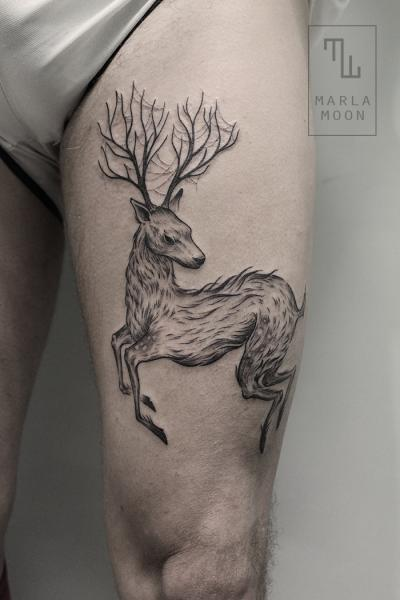 Dotwork Thigh Deer Tattoo by Marla Moon
