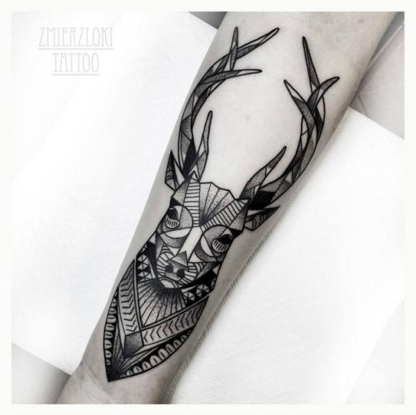 Arm Dotwork Deer Tattoo by Zmierzloki tattoo