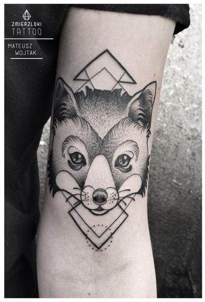 Arm Dotwork Fox Tattoo by Zmierzloki tattoo