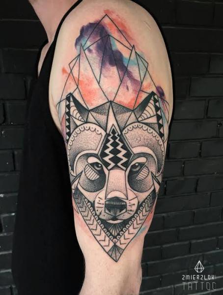 Dotwork Fox Water Color Tattoo by Zmierzloki tattoo