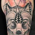 Dotwork Fox Water Color tattoo by Zmierzloki tattoo