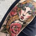 Shoulder Flower Woman tattoo by Zmierzloki tattoo