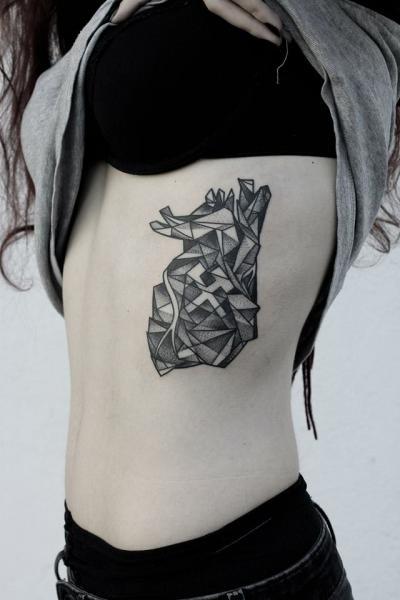 Side Dotwork Abstract Tattoo by Zmierzloki tattoo