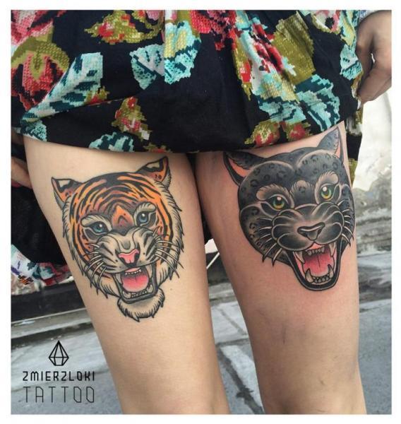 Tiger Panther Thigh Tattoo by Zmierzloki tattoo