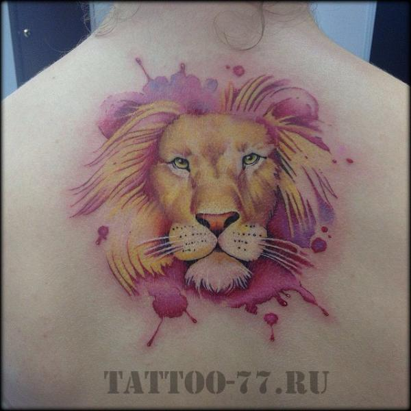 Back Lion Water Color Tattoo by Tattoo-77