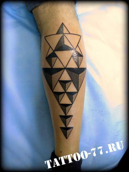 Calf Geometric Tattoo by Tattoo-77