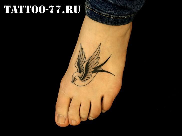Old School Foot Sparrow Tattoo by Tattoo-77