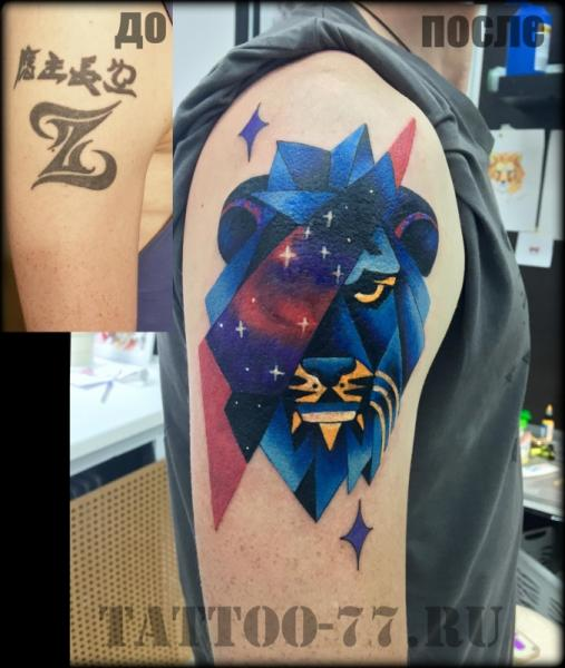 Shoulder Lion Tattoo by Tattoo-77