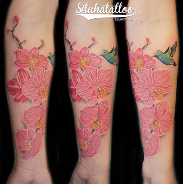 Arm Flower Tattoo by Siluha Tattoo