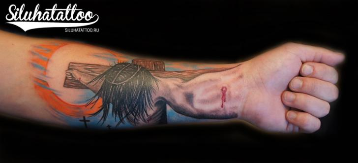 Arm Religious Crucifixion Tattoo by Siluha Tattoo