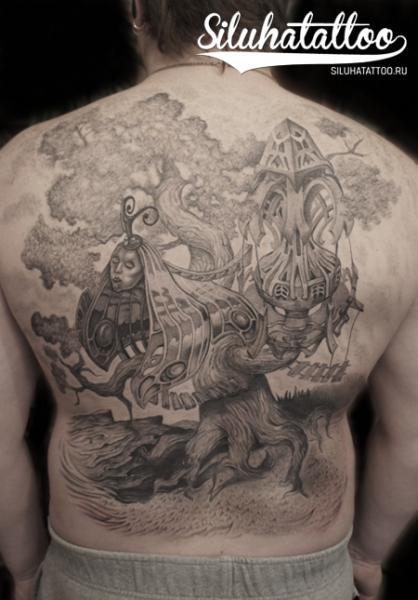 Fantasy Back Butterfly Tree Tattoo by Siluha Tattoo