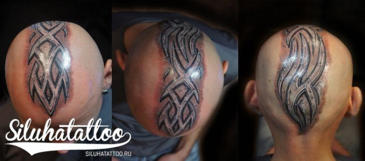 Tribal Head Tattoo by Siluha Tattoo