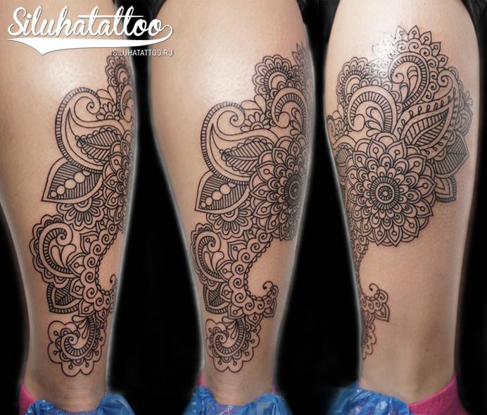 Leg Decoration Tattoo by Siluha Tattoo