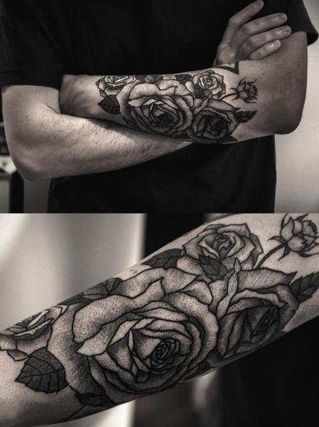 Arm Flower Dotwork Rose Tattoo by Luciano Del Fabro