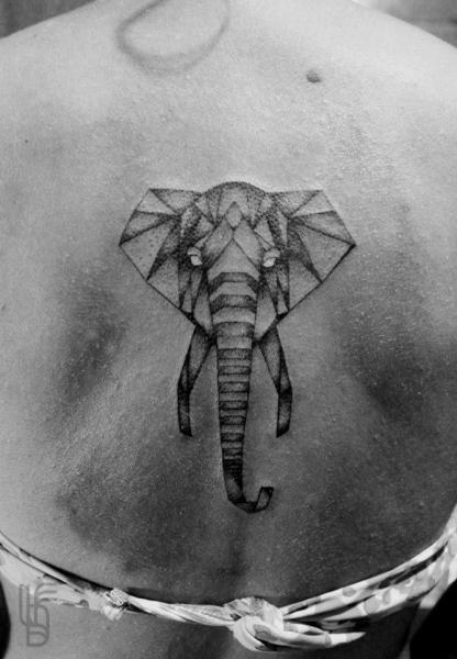 Back Elephant Tattoo by Luciano Del Fabro