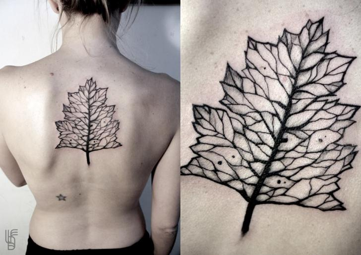 Back Leaf Tattoo by Luciano Del Fabro