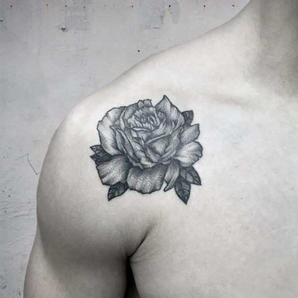 Shoulder Flower Dotwork Rose Tattoo by Luciano Del Fabro