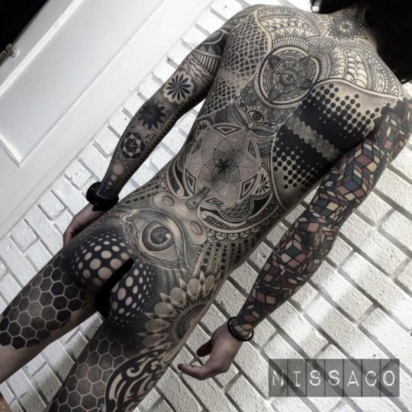 Dotwork Geometric Body Tattoo by Nissaco