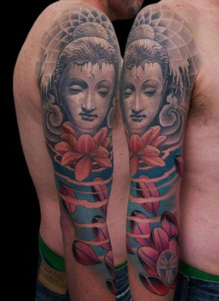 Arm Japanese Buddha Tattoo by Nicklas Westin