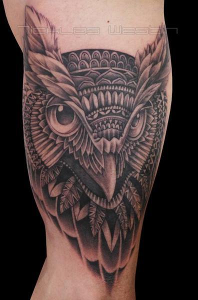 Arm Owl Tattoo by Nicklas Westin