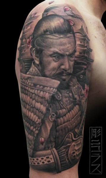 schulter arm realistische samurai tattoo von nicklas westin. Black Bedroom Furniture Sets. Home Design Ideas