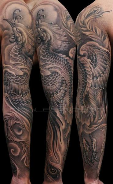 Fantasy Phoenix Sleeve Tattoo by Nicklas Westin