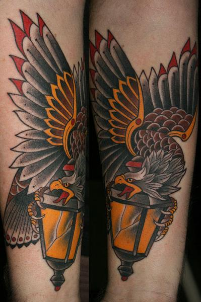 Arm Old School Eagle Lamp Tattoo by California Electric Tattoo Parlour