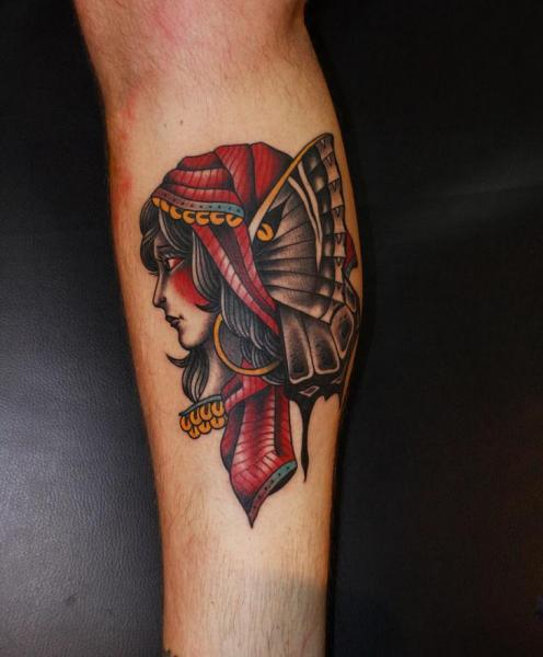 Calf Moth Woman Tattoo by California Electric Tattoo Parlour