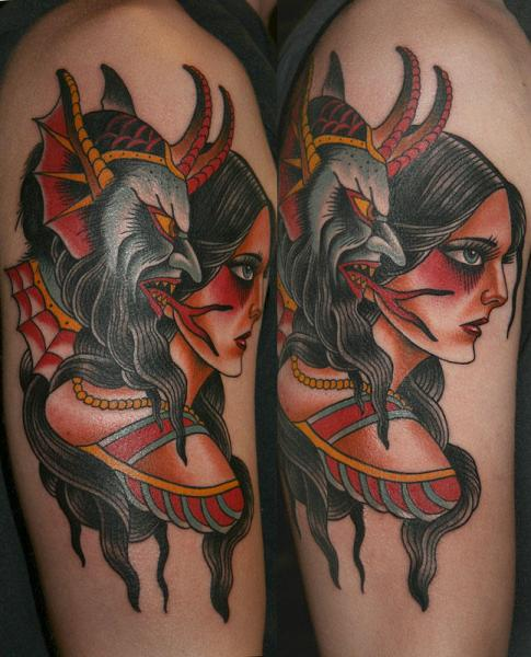 Shoulder Old School Devil Woman Tattoo by California Electric Tattoo Parlour