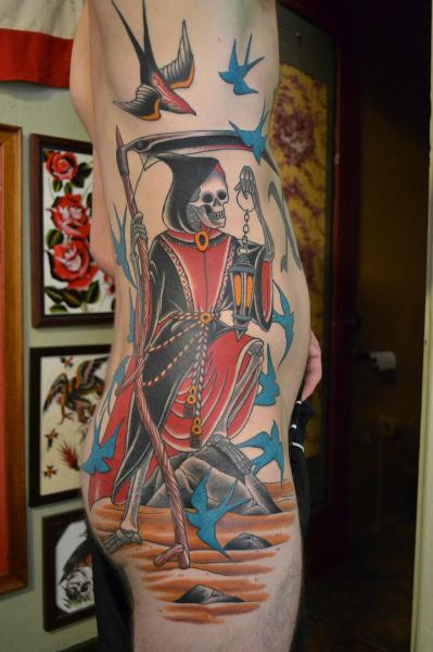 Old School Side Death Tattoo by California Electric Tattoo Parlour