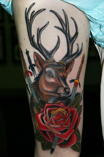 Old School Flower Thigh Deer Tattoo by California Electric Tattoo Parlour