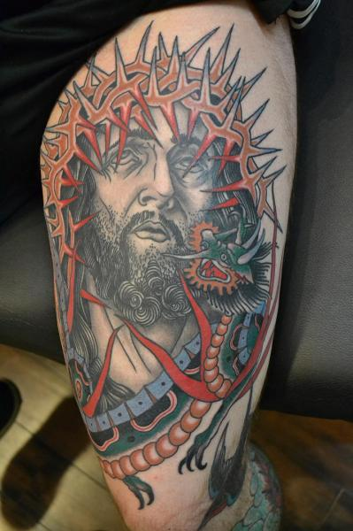 Old School Jesus Religious Thigh Tattoo by California Electric Tattoo Parlour