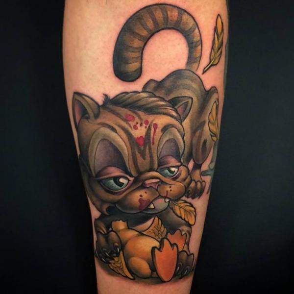 Tatuaggio Braccio Gatto di Niteowl Tattoo