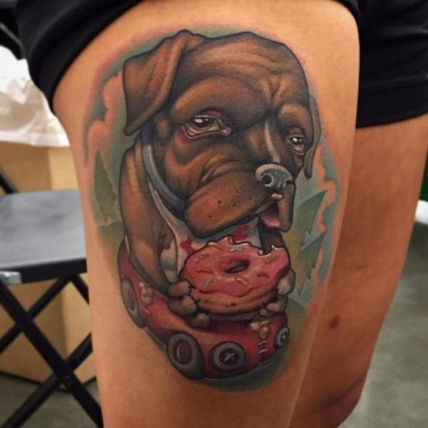 Dog Thigh Donut Tattoo by Niteowl Tattoo