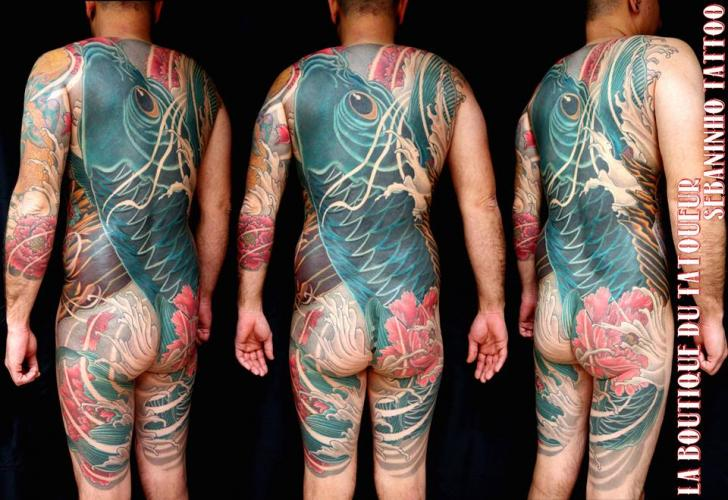 Arm Leg Japanese Back Carp Butt Koi Body Tattoo by Sebaninho Tattoo