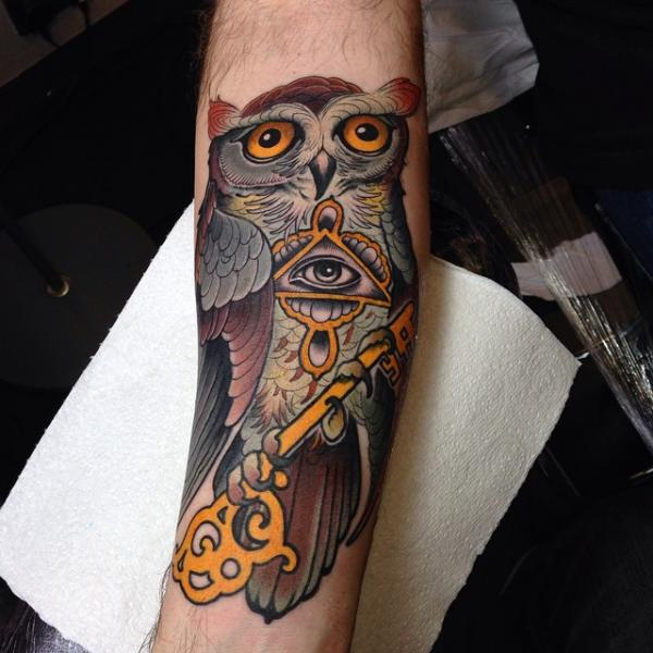 Arm New School Owl Key Tattoo by Dalmiro Tattoo