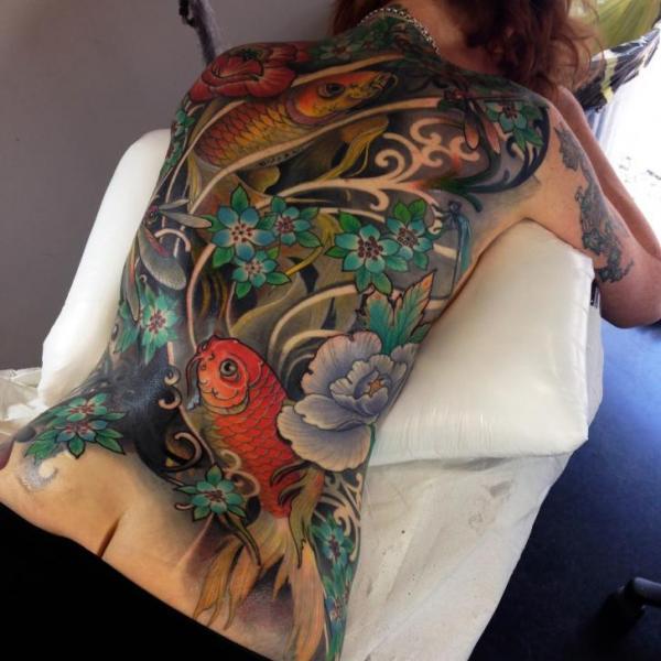 Back Carp Tattoo by Dalmiro Tattoo